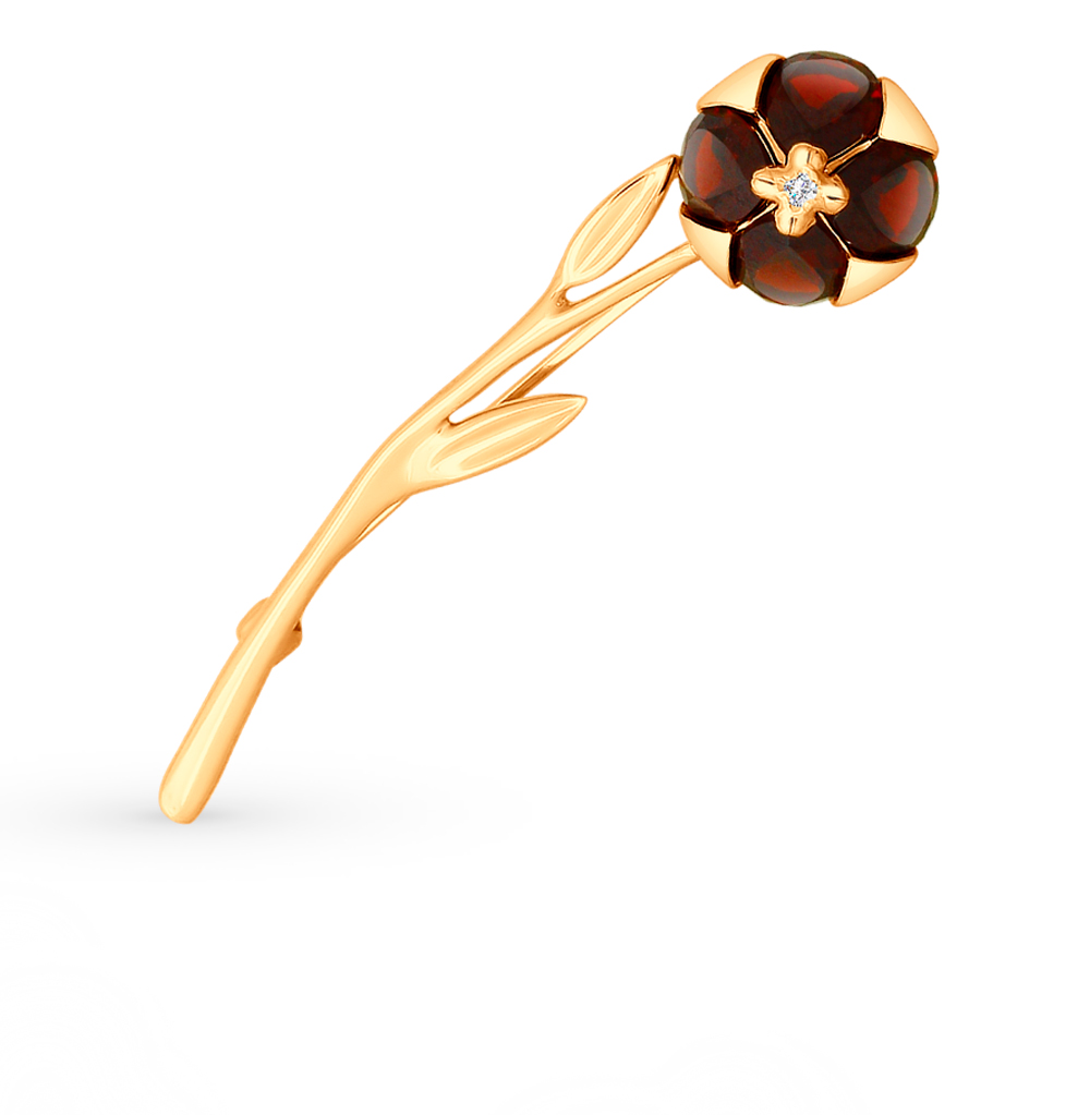 золотая брошь с фианитами и гранатом SOKOLOV 740191*