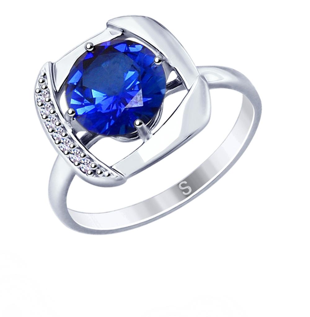 Фото «Серебряное кольцо с корундом и фианитами SOKOLOV 88010054»