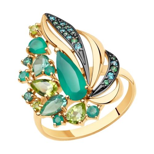 Фото «Золотое кольцо с хризолитом, фианитами, агатом и ситаллами SOKOLOV 715724»