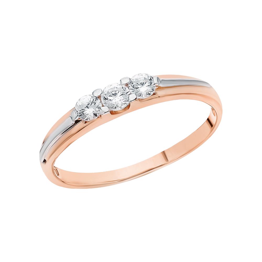 Золотое кольцо с фианитами ЮВЕЛИРНАЯ ФАБРИКА «ШИК» 1-773-1*: розовое золото 585 пробы, фианит — купить в интернет-магазине SUNLIGHT, фото, артикул 154252