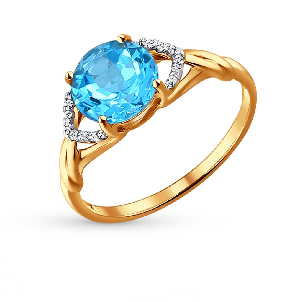 Фото «Золотое кольцо с топазами и фианитами SOKOLOV 714015*»