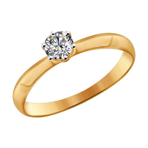 Фото «Золотое кольцо с фианитами SOKOLOV 81010225*»