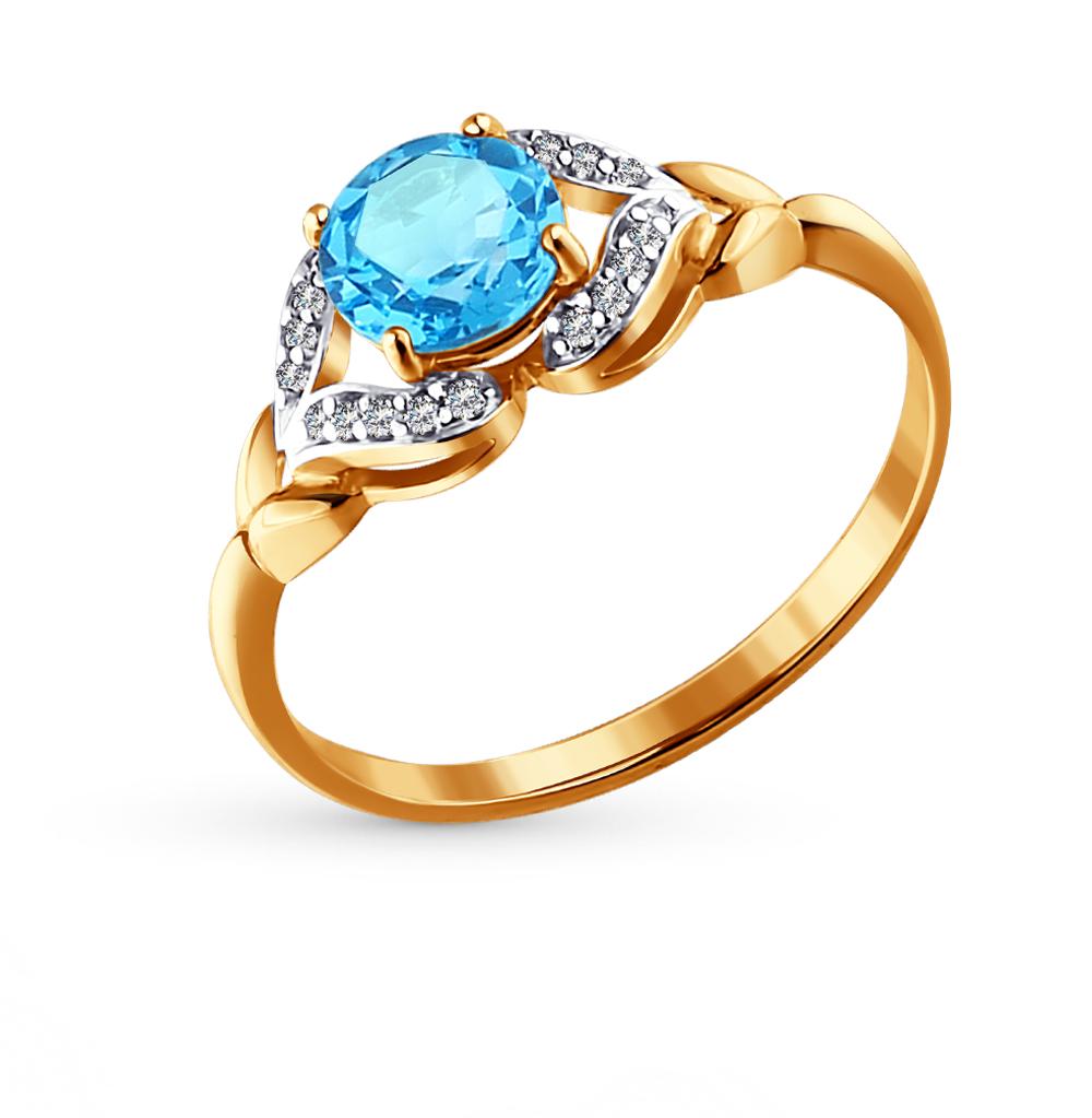 Золотое кольцо с топазами и фианитами SOKOLOV 713872* в Санкт-Петербурге