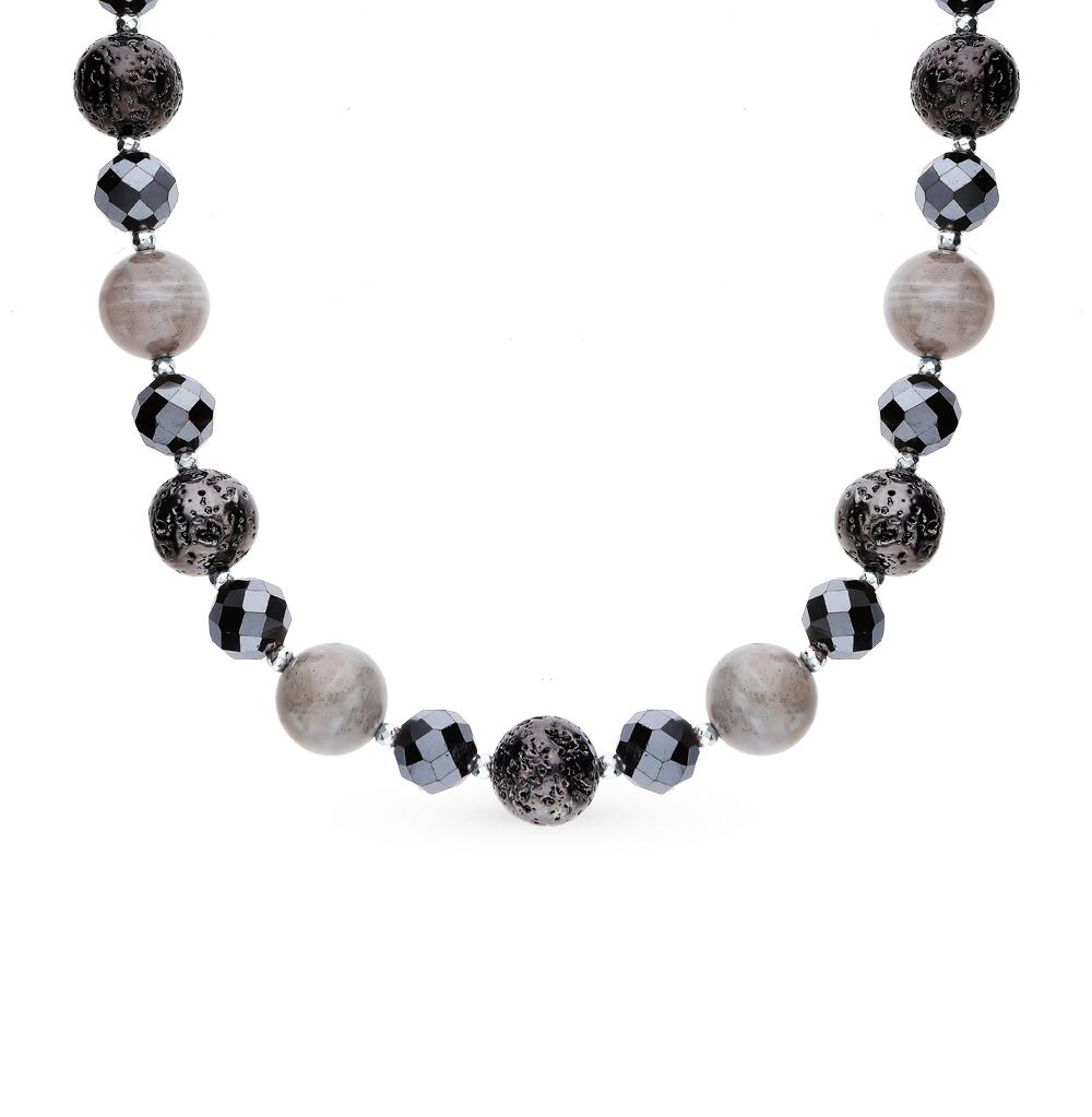 Серебряное шейное украшение с кристаллами, лабрадором, смолами ювелирными и бриллиантами в Санкт-Петербурге