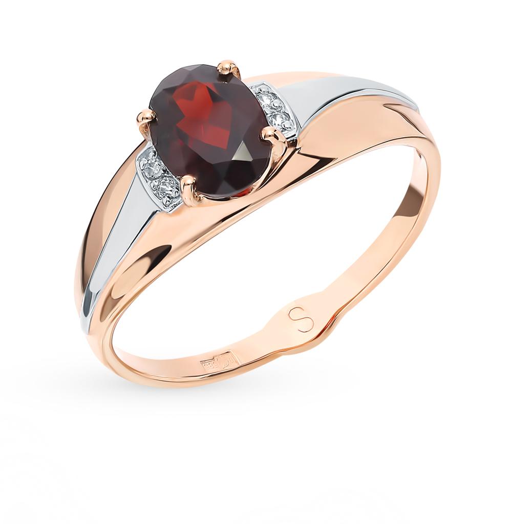 золотое кольцо с фианитами и гранатом SOKOLOV 715617*