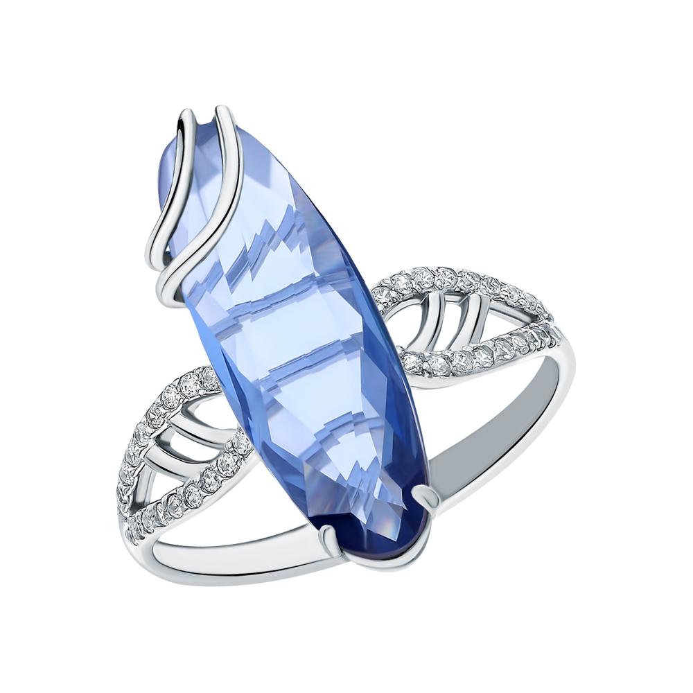 Фото «Серебряное кольцо с фианитами и кварцами плавлеными»