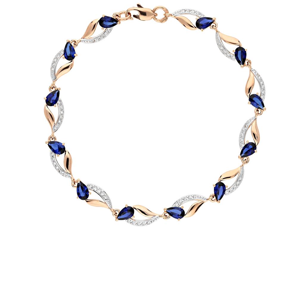 золотой браслет с корундом и фианитами SOKOLOV 750233*