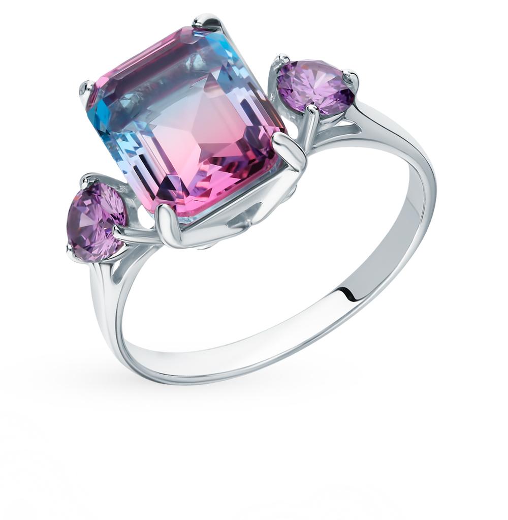 Фото «Серебряное кольцо с фианитами и ситаллом SOKOLOV 92011725»