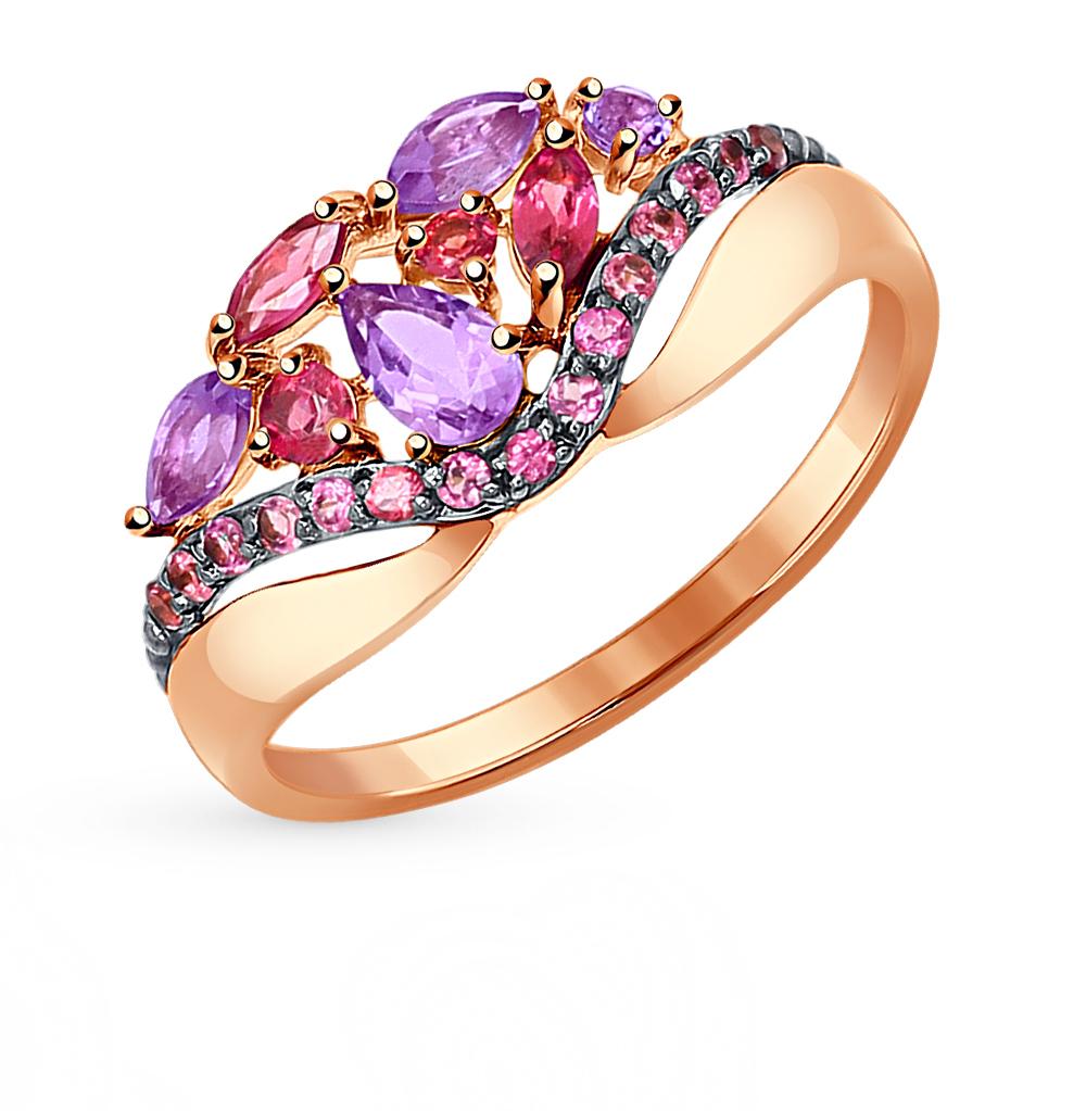 золотое кольцо с родолитами и аметистом SOKOLOV 714312*