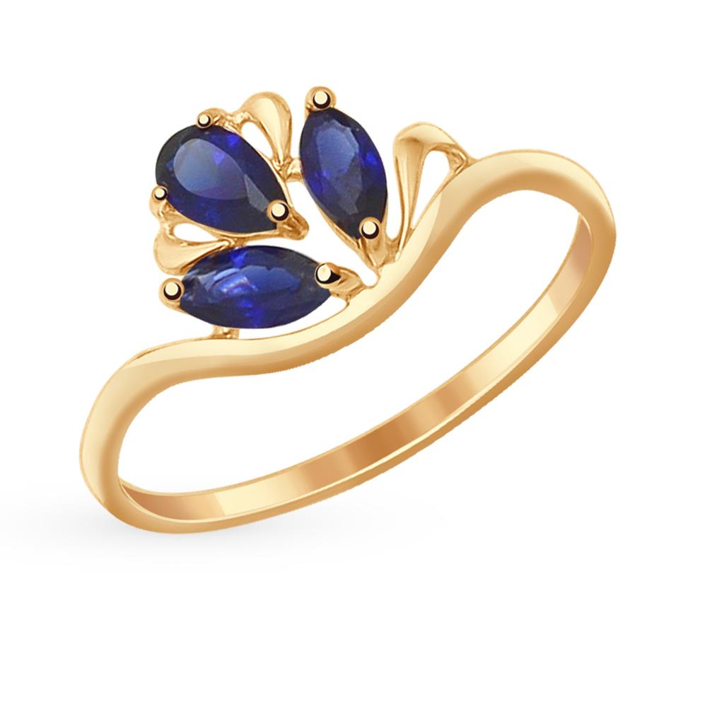 золотое кольцо с кварцем и корундом SOKOLOV 714589*