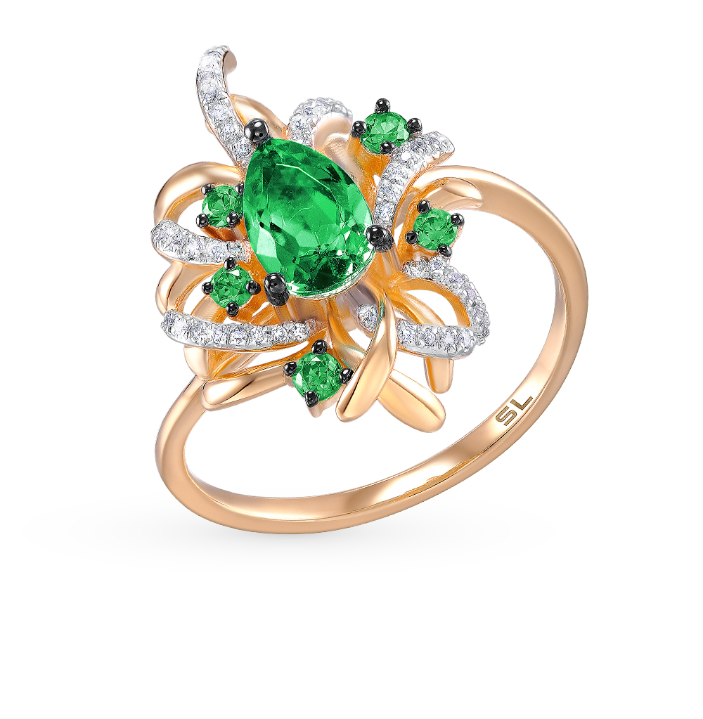 Фото «золотое кольцо с шпинелями синтетическими и бриллиантами»