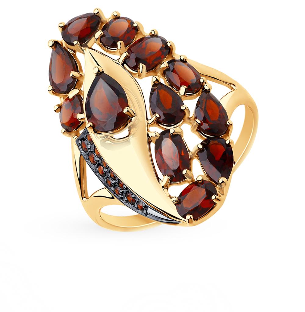 золотое кольцо с фианитами и гранатом SOKOLOV 715658*