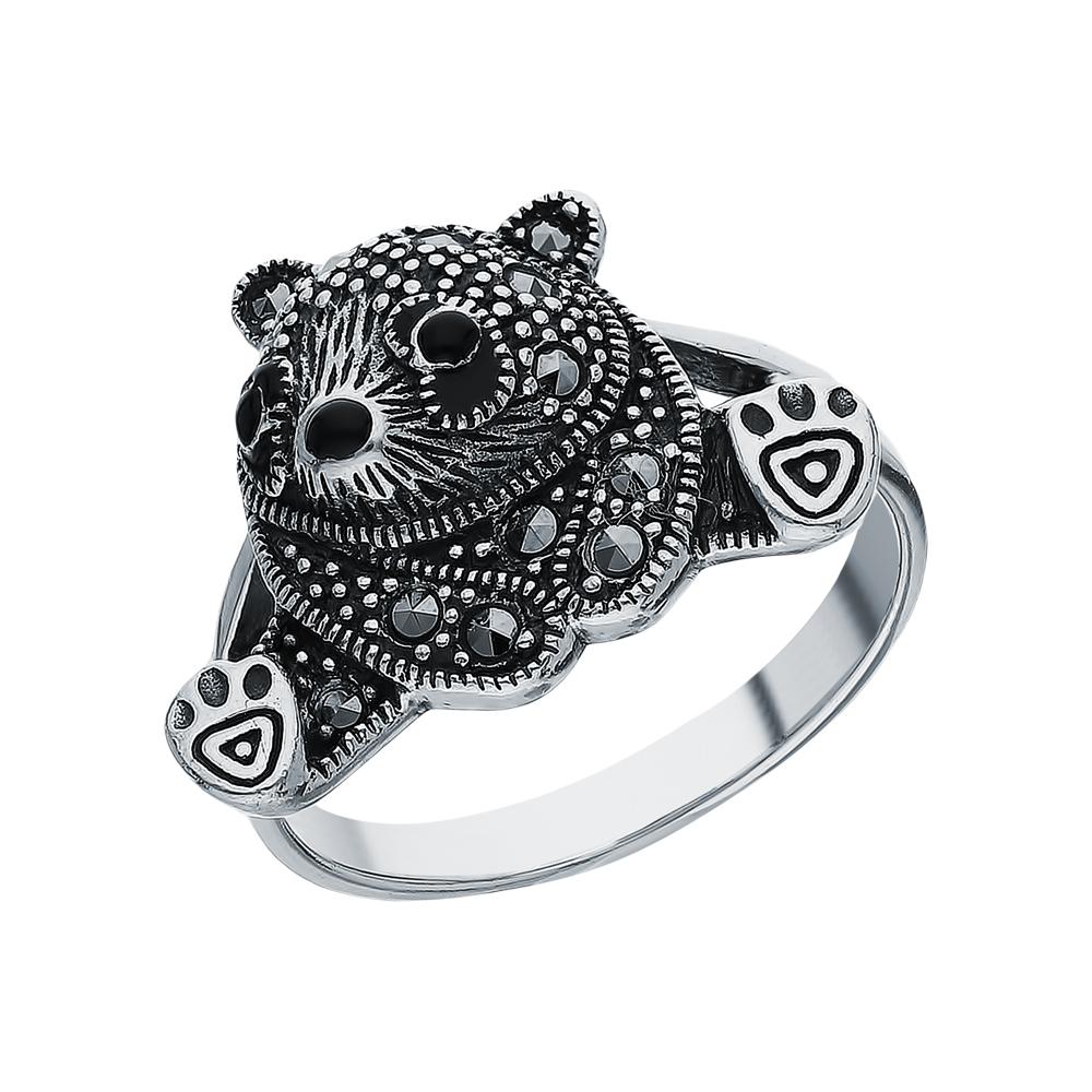 Фото «Серебряное кольцо с ониксом, эмалью и марказитами swarovski»