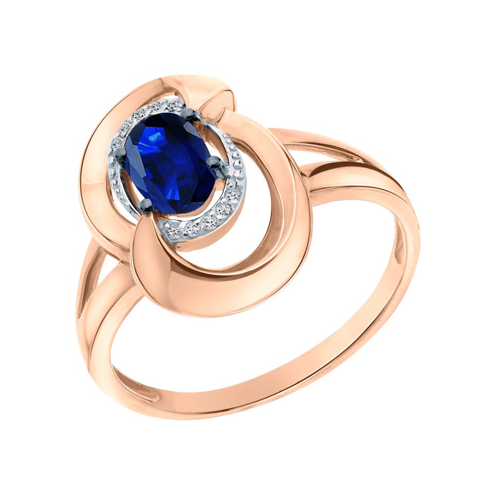 Золотое кольцо с сапфирами синтетическими и бриллиантами в Екатеринбурге