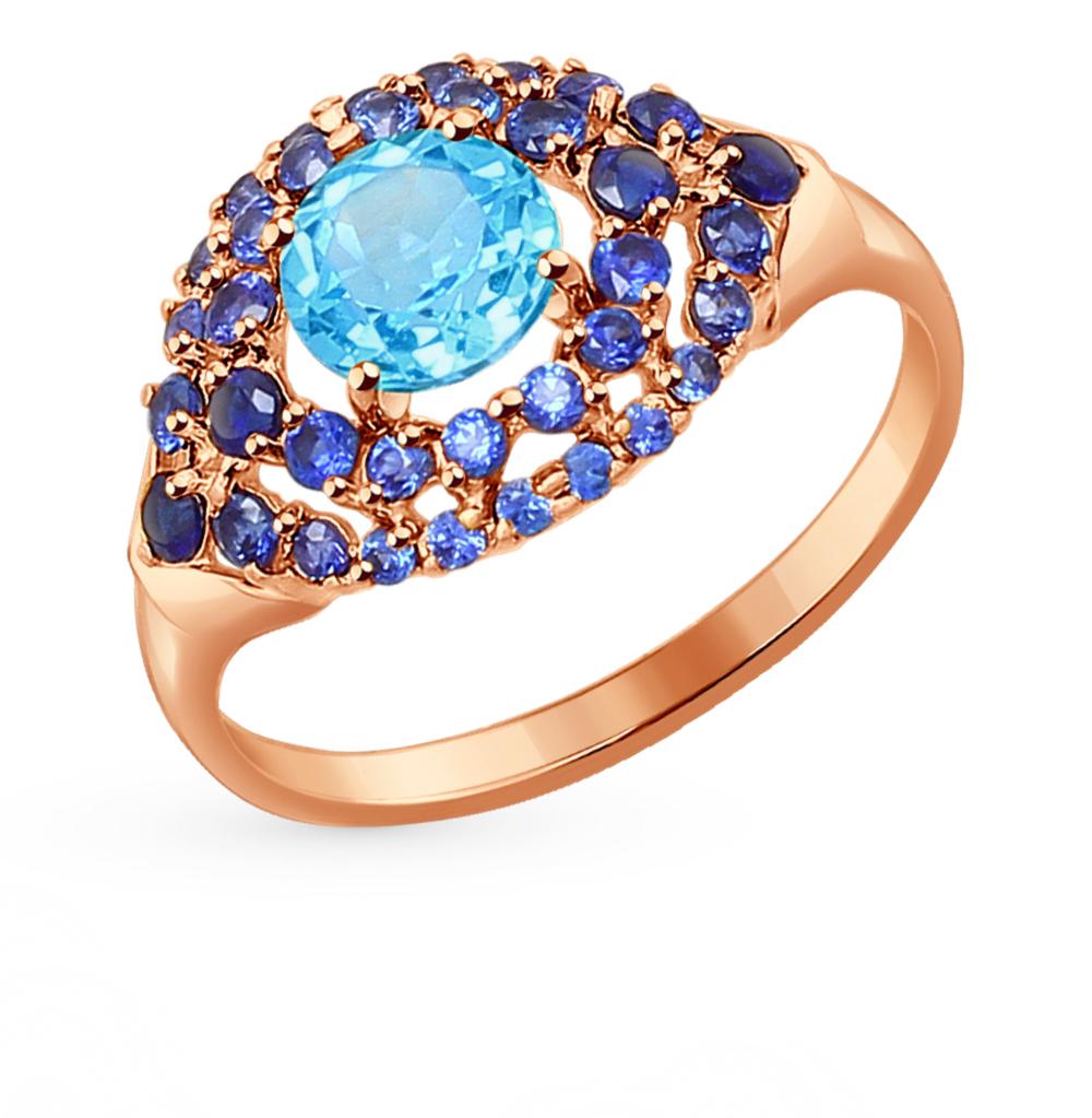 золотое кольцо с корундом и топазами SOKOLOV 714273*
