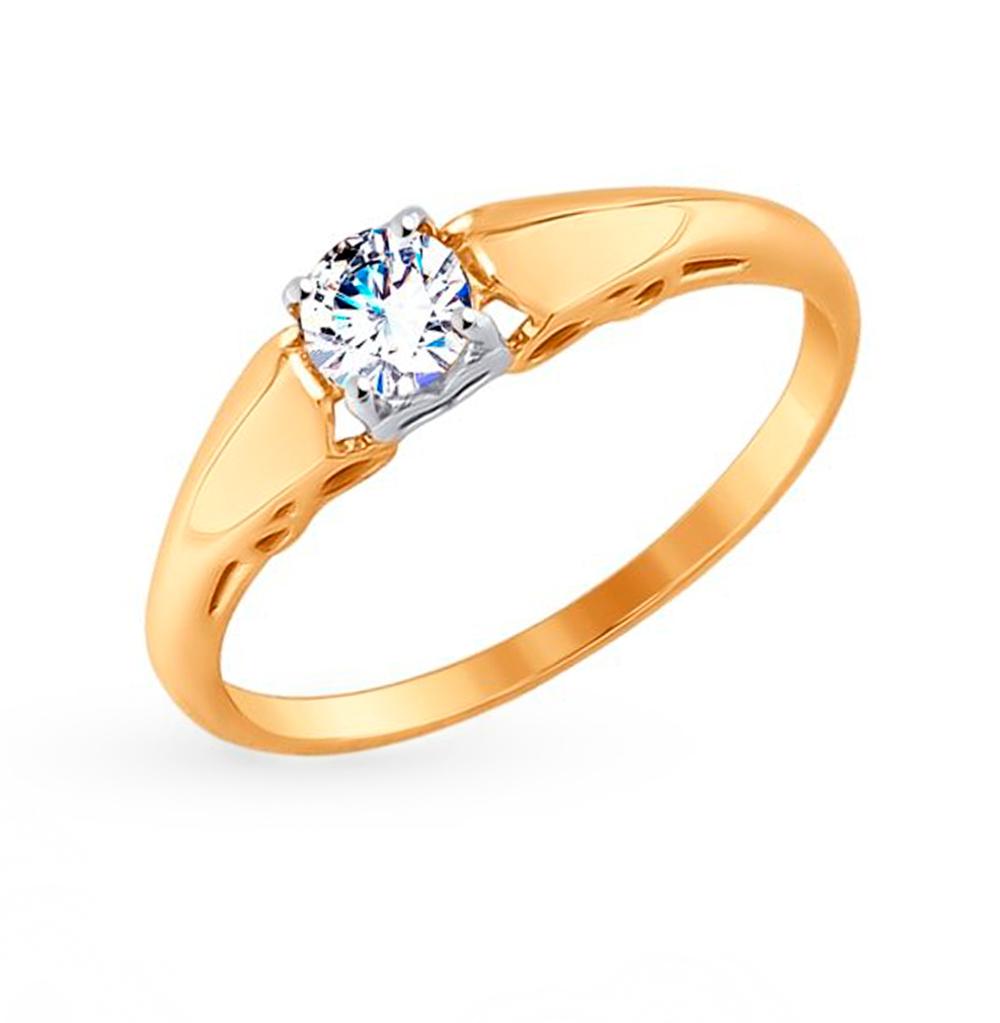 Фото «Золотое кольцо с фианитами SOKOLOV 017559»