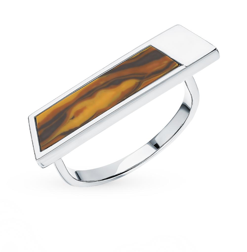 Фото «Серебряное кольцо с тигровым глазом S40848-K9W-02»