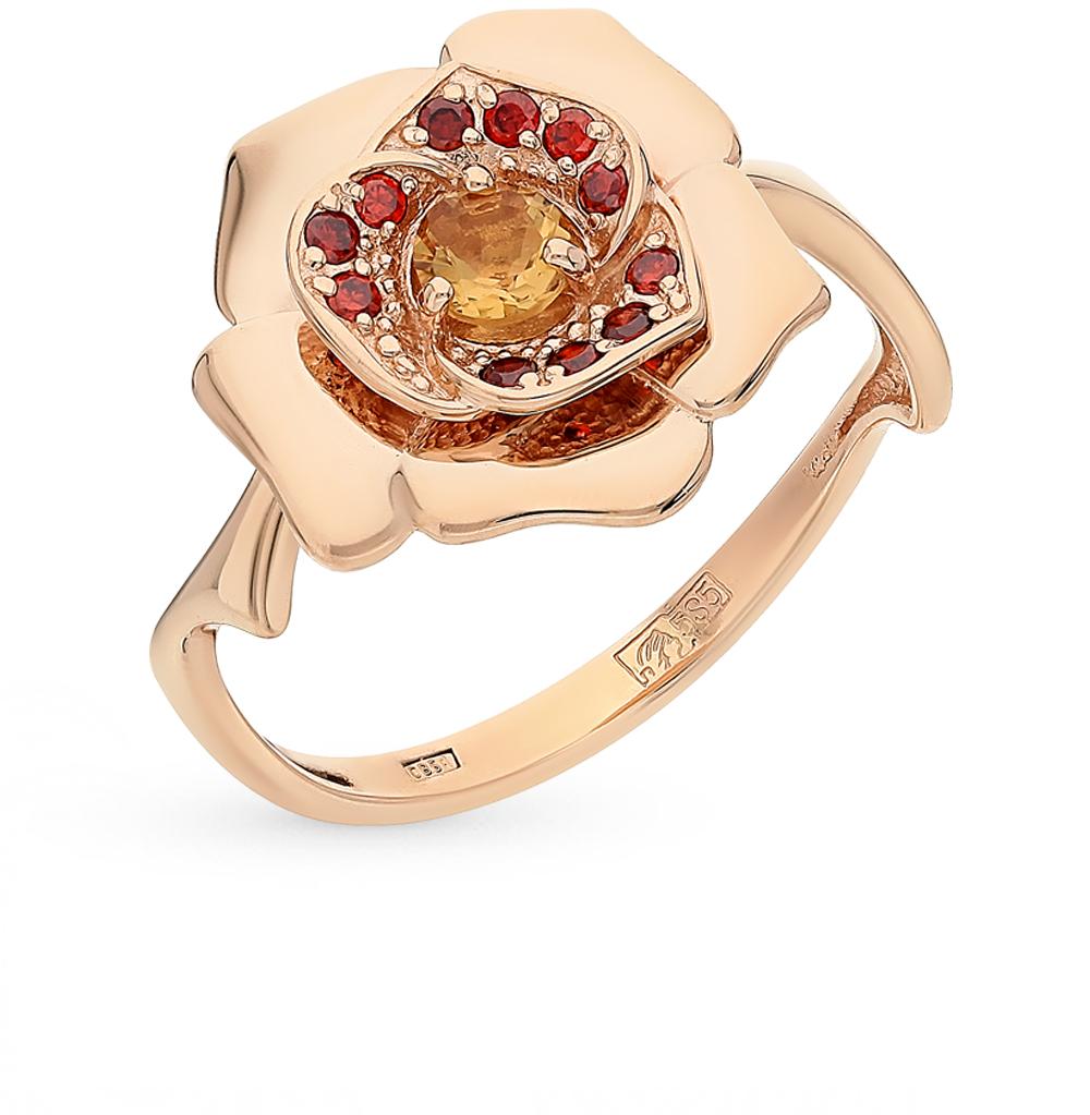 золотое кольцо с гранатом и цитринами
