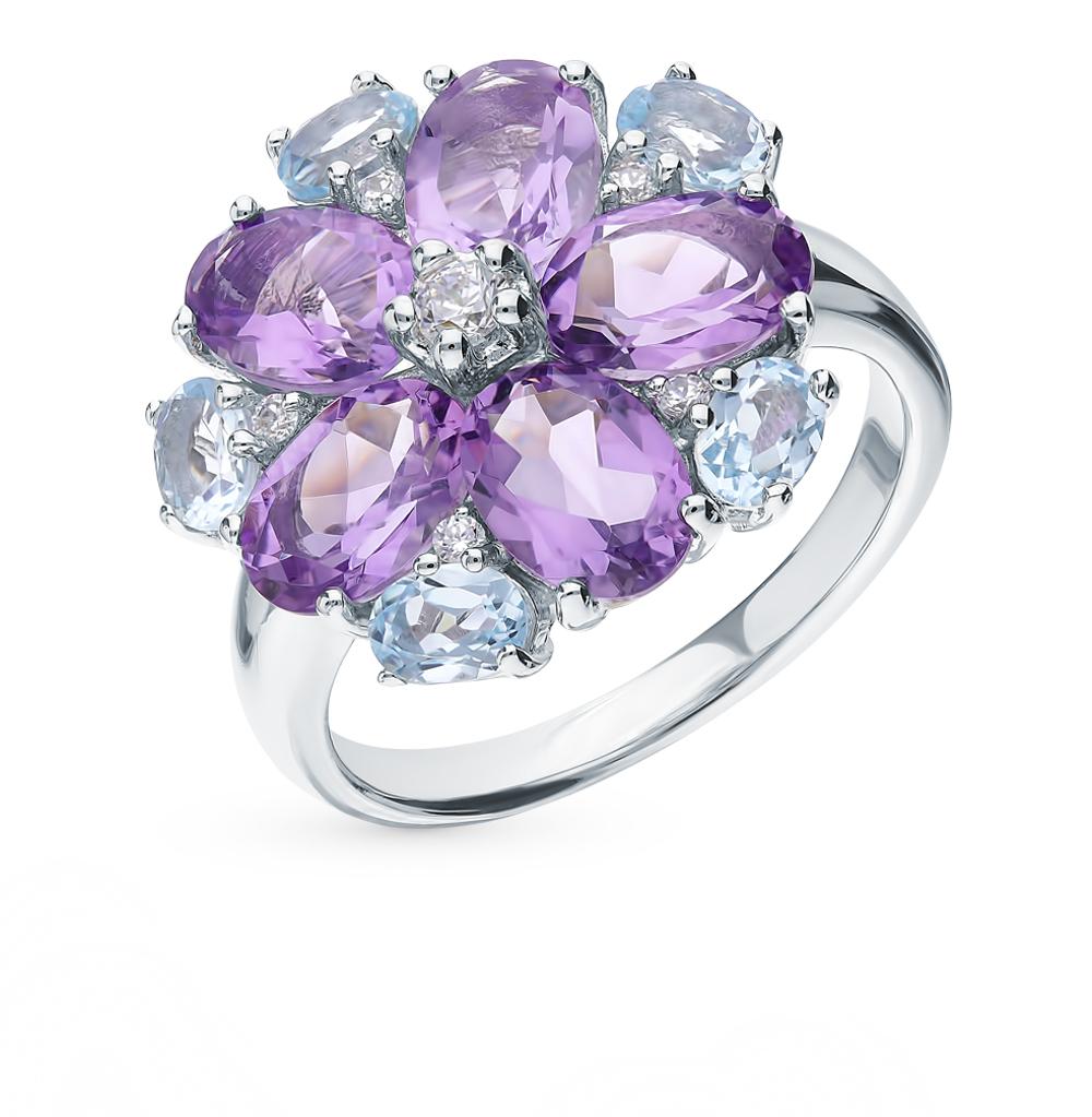 серебряное кольцо с аметистом, топазами и фианитами