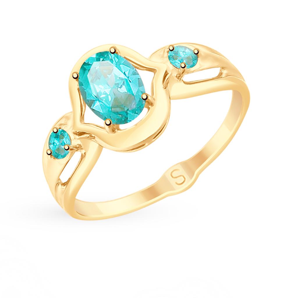 Фото «Золотое кольцо с топазами и фианитами SOKOLOV 715318*»