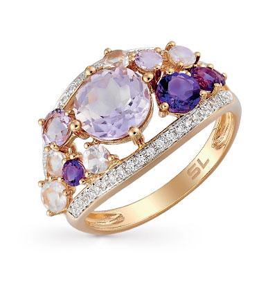 Золотое кольцо с аметистом, кварцем и бриллиантами в Санкт-Петербурге
