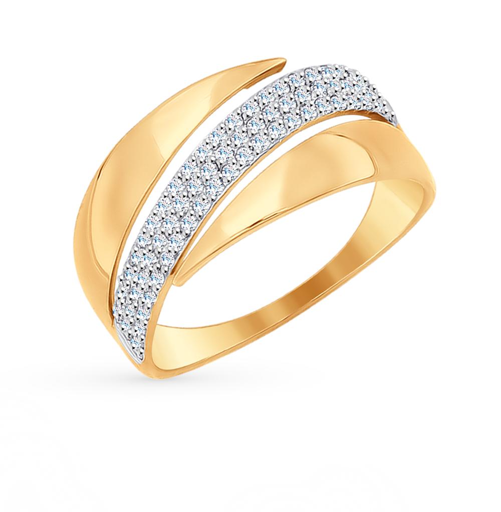 золотое кольцо с фианитами SOKOLOV 017112*