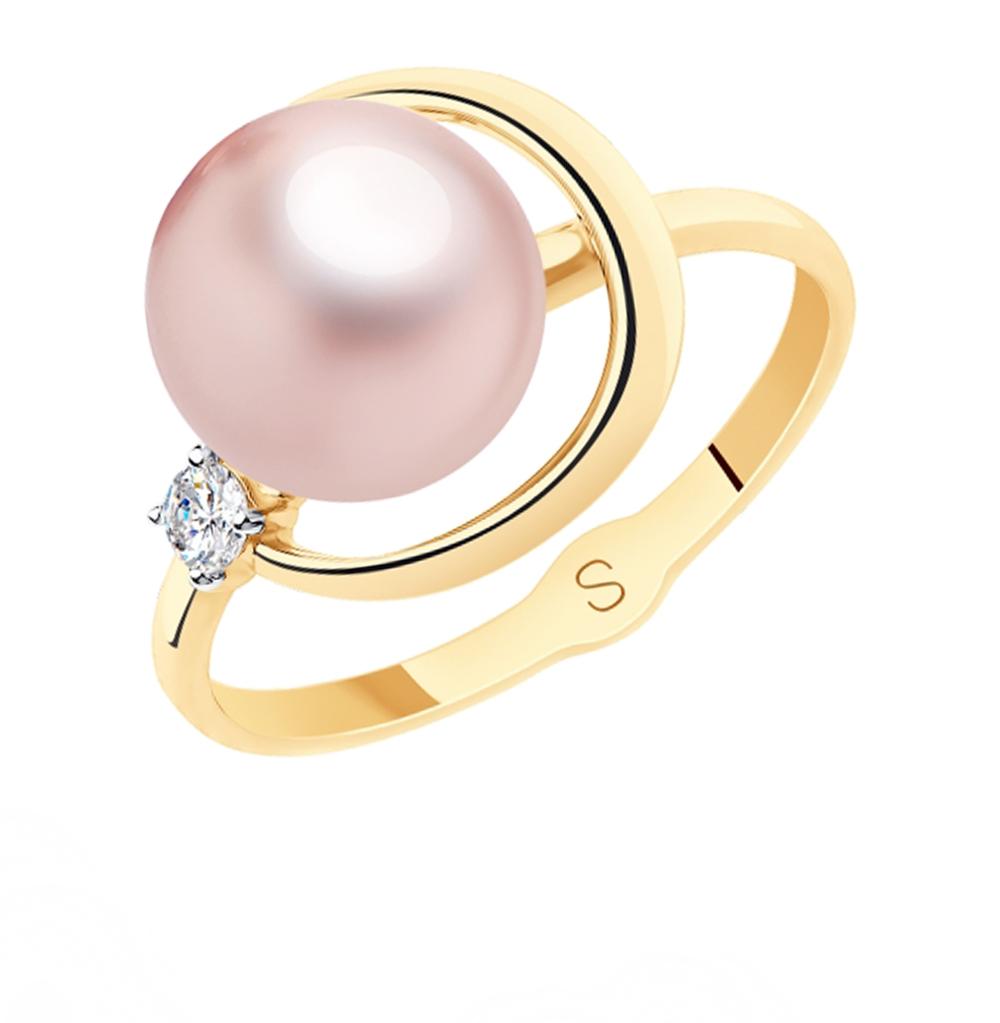 Фото «Золотое кольцо с фианитами и жемчугом SOKOLOV 791130»