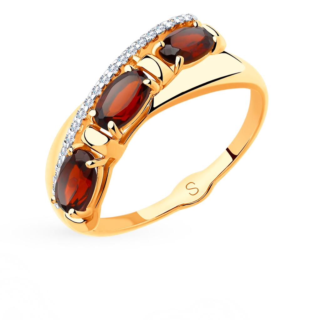 Фото «Золотое кольцо с гранатом SOKOLOV 715480*»