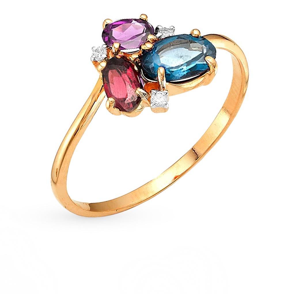 Фото «золотое кольцо с аметистом, топазами, фианитами и родолитами»