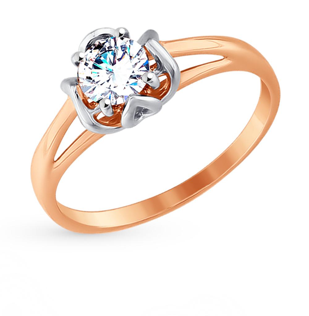 золотое кольцо с фианитами SOKOLOV 017526*