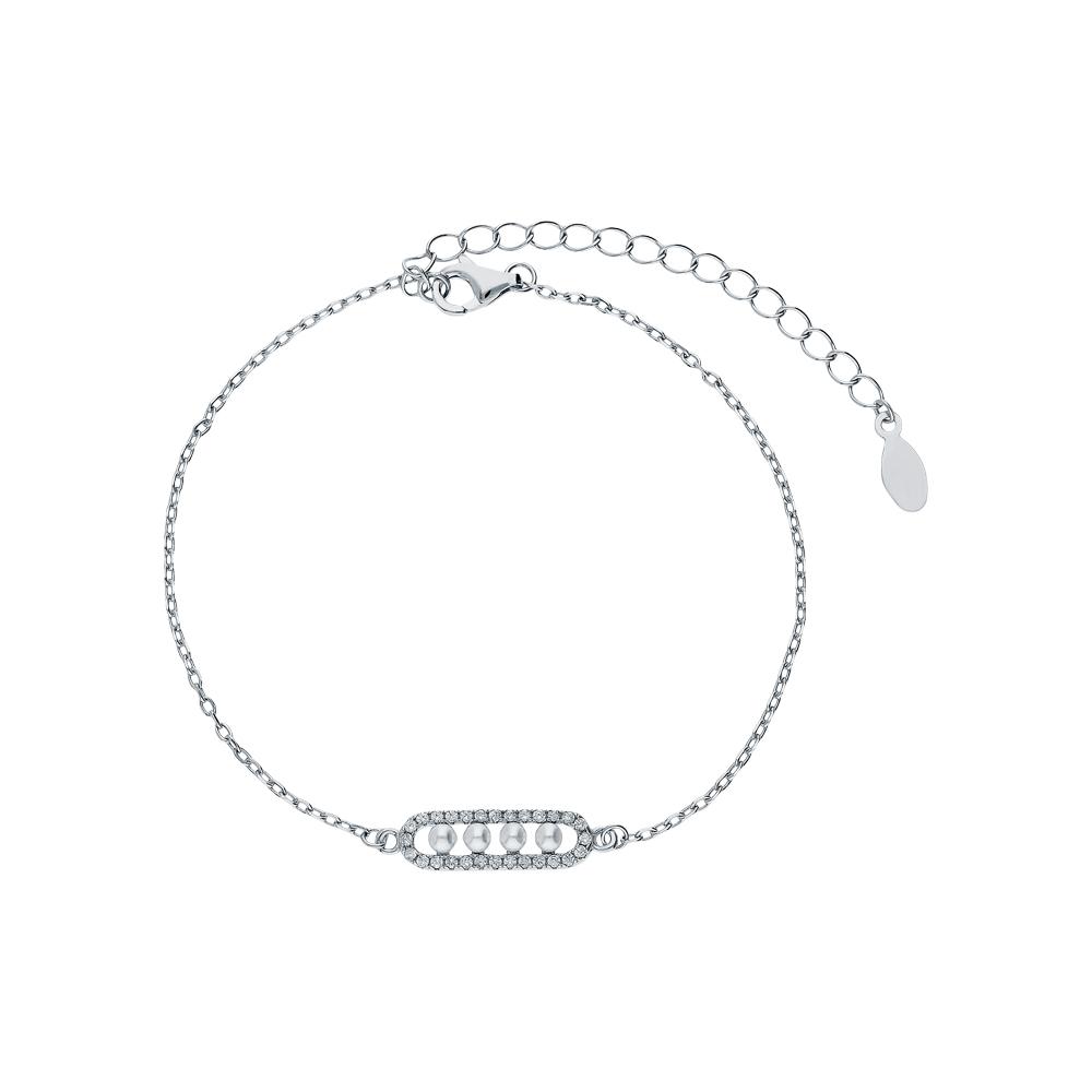 Фото «Серебряный браслет с перламутром и кубическими циркониями»