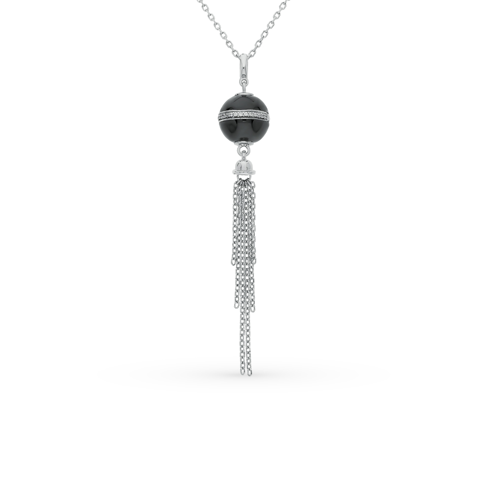 Фото «шейное украшение из серебра с фианитами и керамикой»