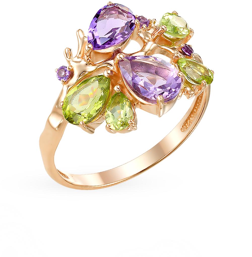 серебряное кольцо с хризолитом и аметистом