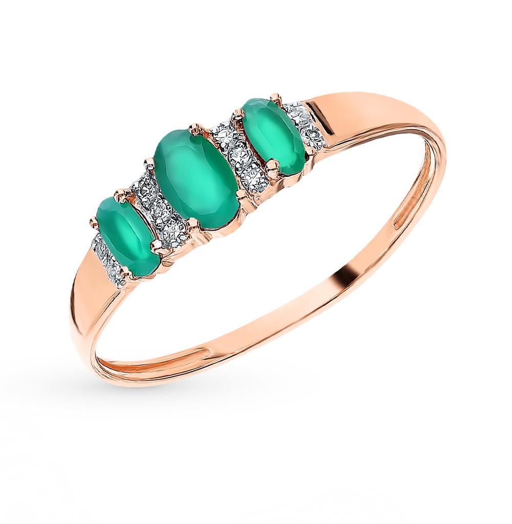 Золотое кольцо с агатом и бриллиантами в Санкт-Петербурге