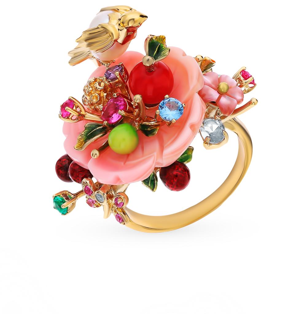 серебряное кольцо со шпинелью, корундом, фианитами, жемчугом, кораллом, перламутром и эмалью