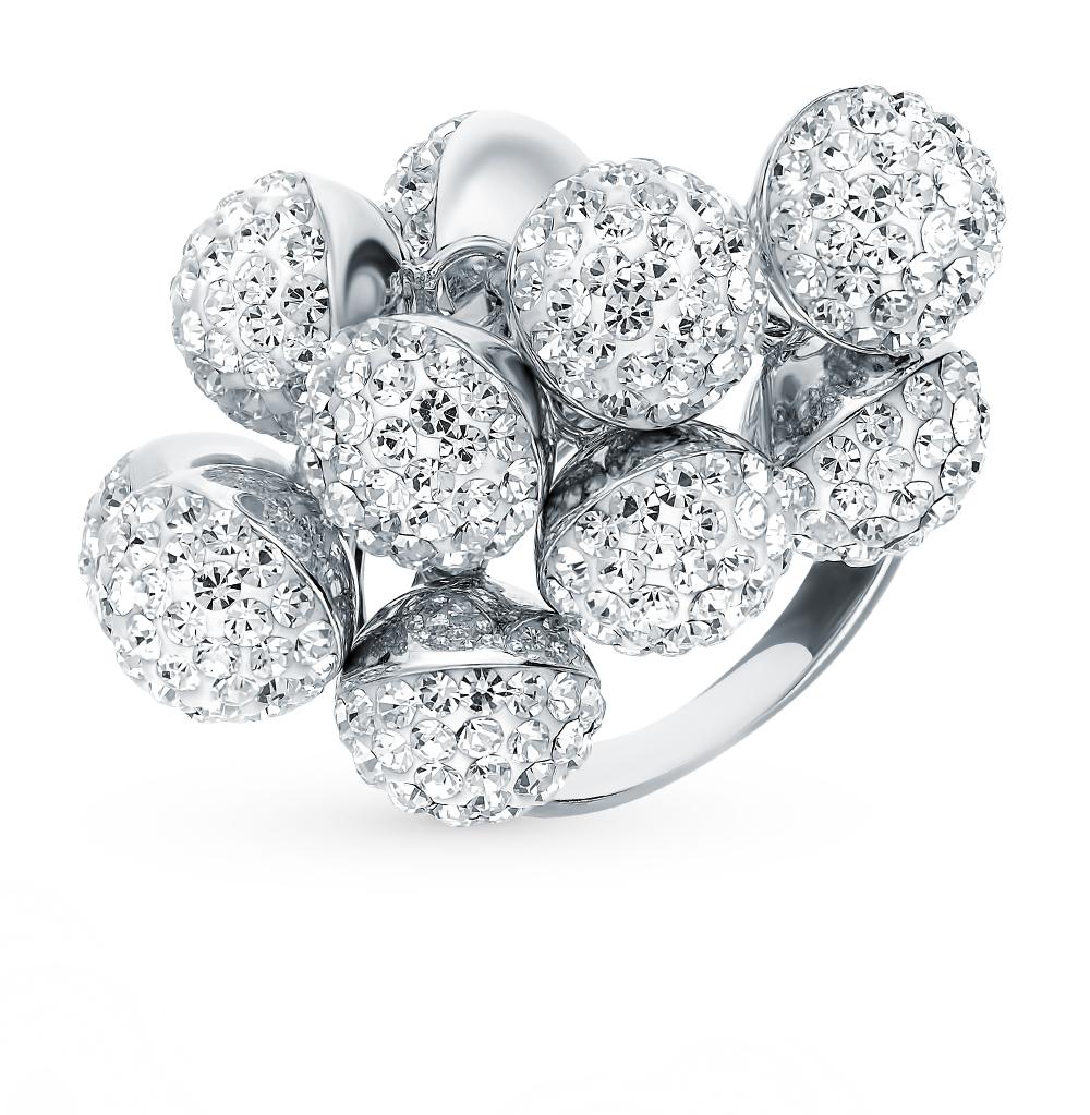 серебряное кольцо с кристаллами swarovski