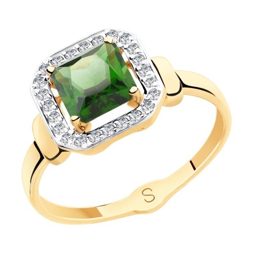 Фото «Золотое кольцо с фианитами и ситаллом SOKOLOV 715413*»