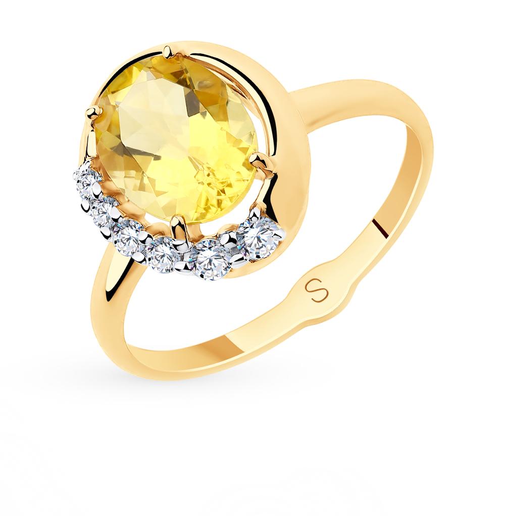 золотое кольцо с фианитами и цитринами SOKOLOV 715655*