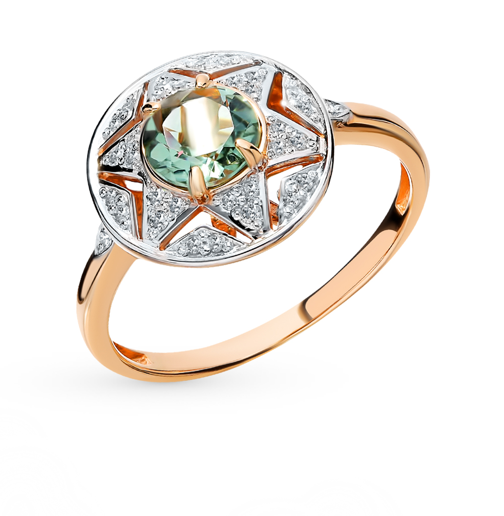 золотое кольцо с празиолитами и бриллиантами