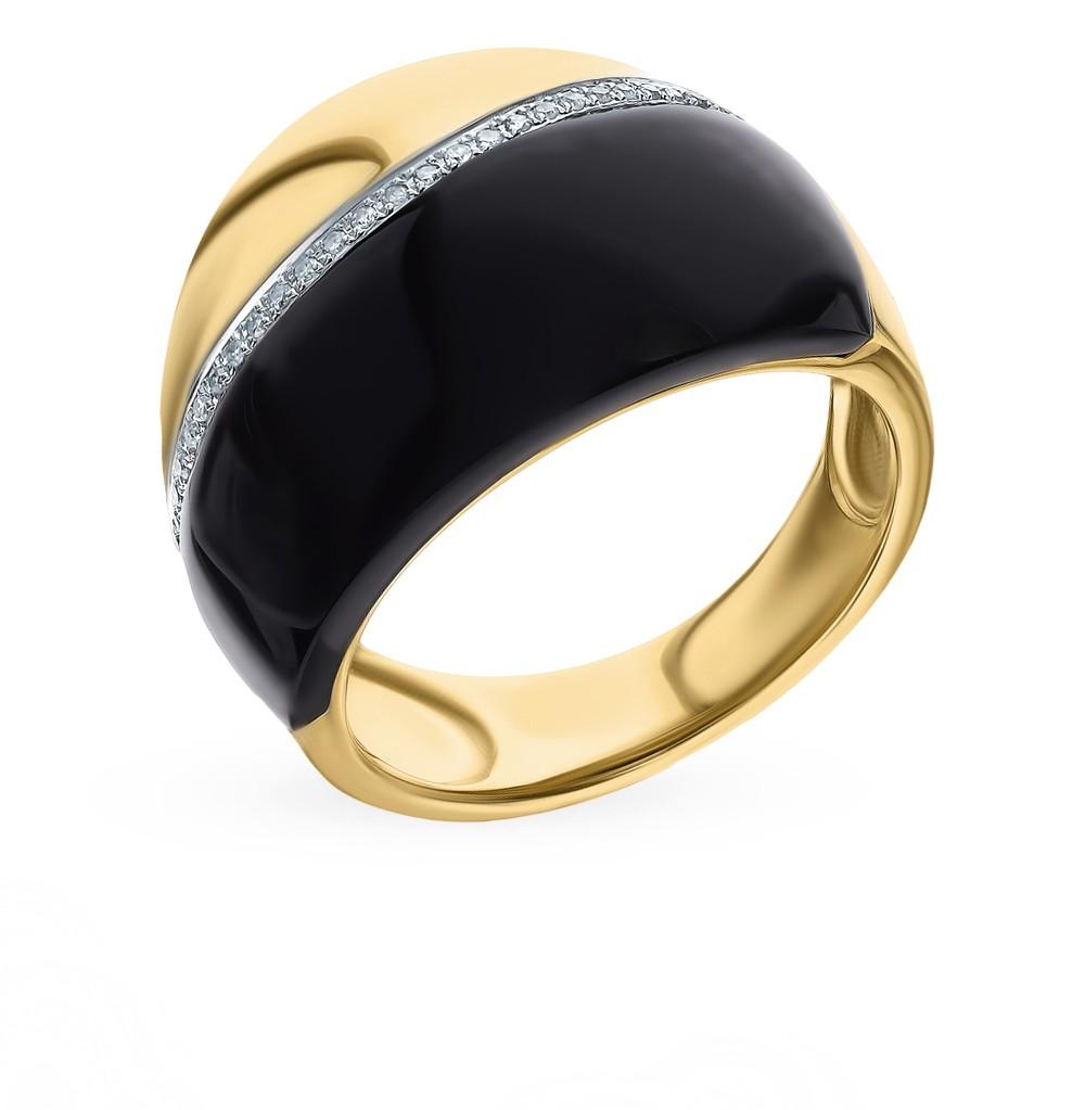 Золотое кольцо с ониксом и бриллиантами в Екатеринбурге