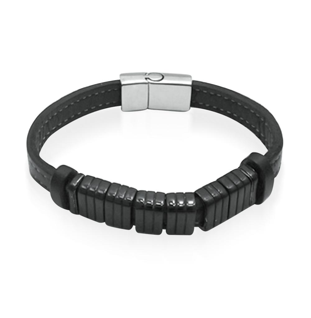 Фото «Кожаный браслет со сталью»
