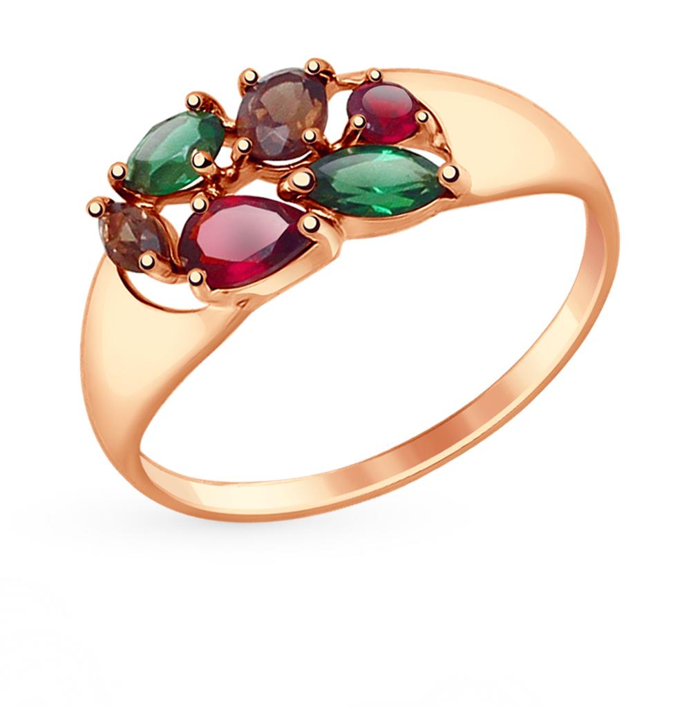 золотое кольцо с гранатом и раухтопазами (кварцами дымчатый) SOKOLOV 714677*