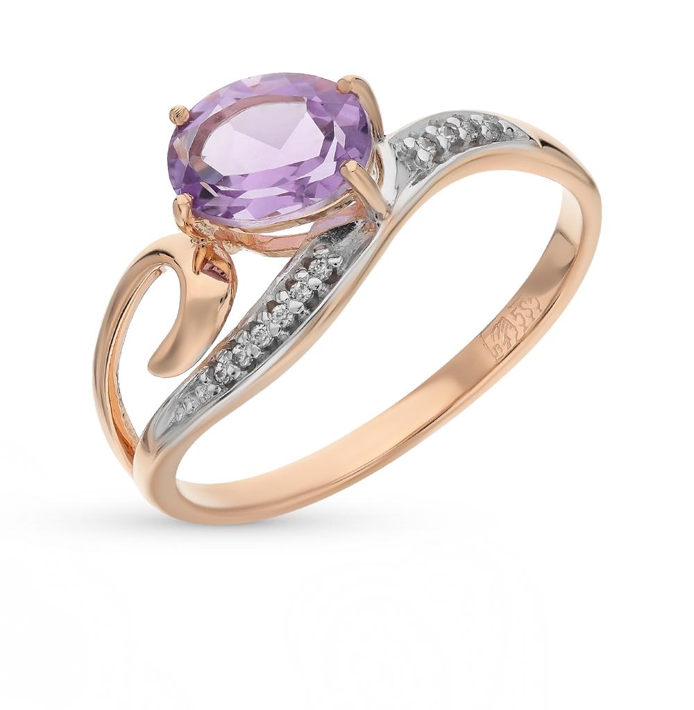 золотое кольцо с аметистом и фианитами SOKOLOV 713845*