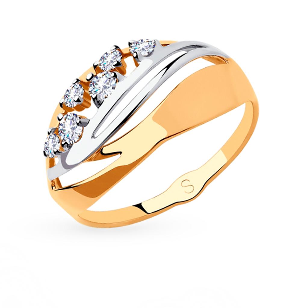 золотое кольцо с фианитами SOKOLOV 018187