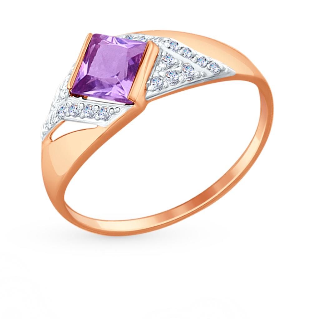 золотое кольцо с аметистом и фианитами SOKOLOV 714697*