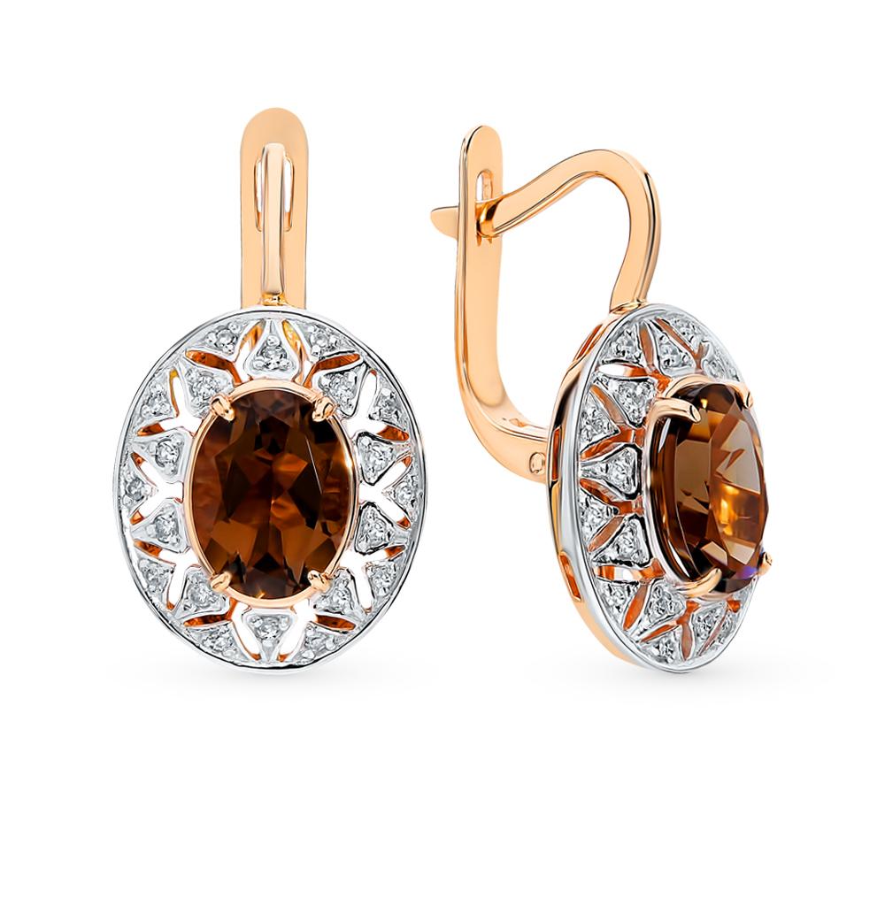 золотые серьги с раухтопазами (кварцами дымчатый) и бриллиантами