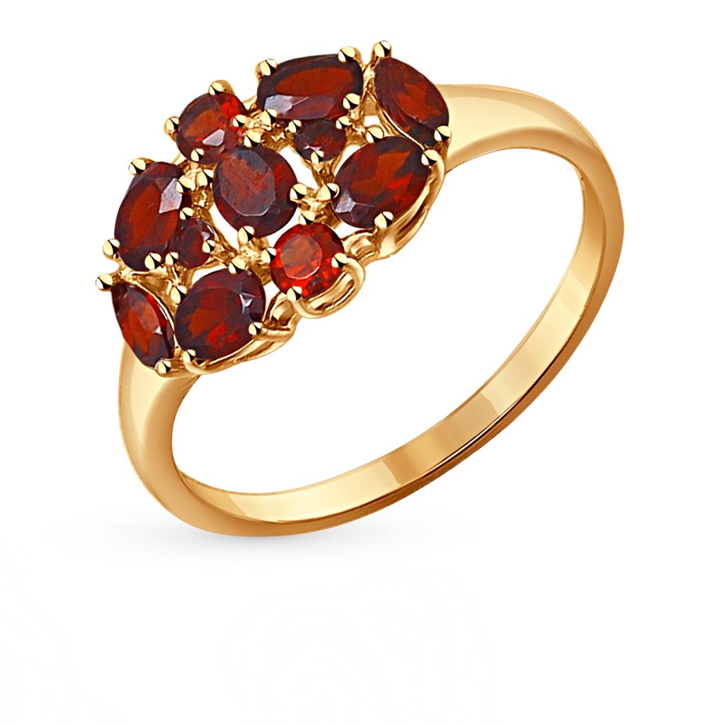 золотое кольцо с гранатом SOKOLOV 714257*