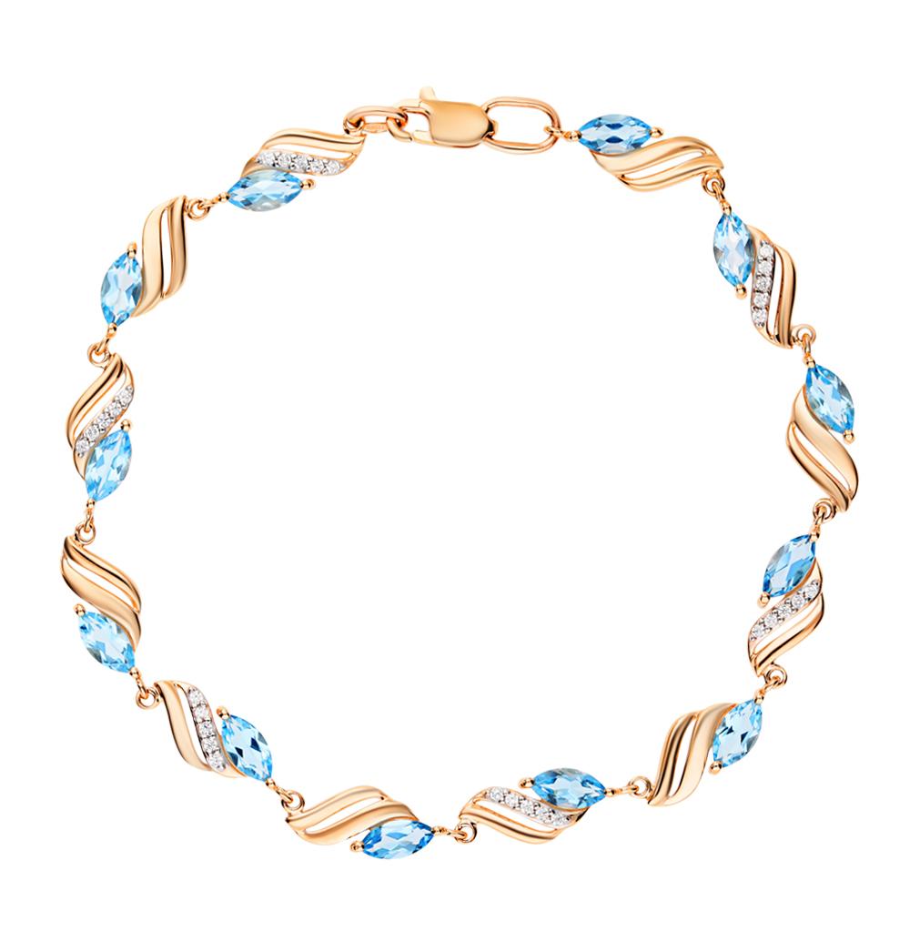 золотой браслет с топазами и фианитами SOKOLOV 750061*