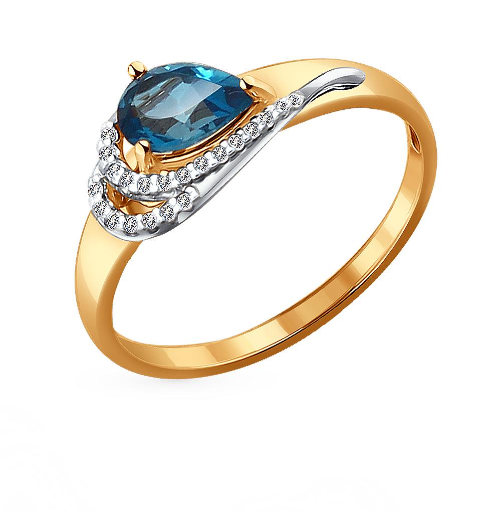 золотое кольцо с топазами и фианитами SOKOLOV 714075*