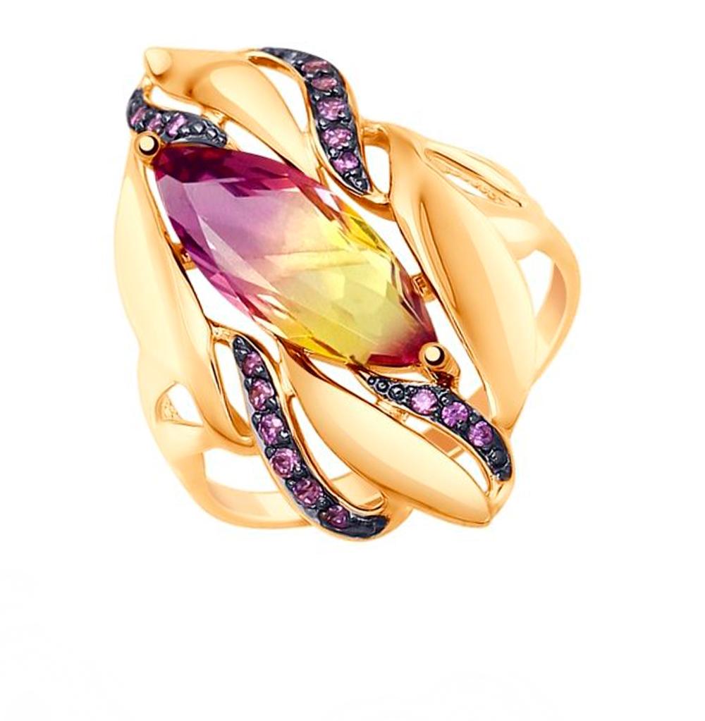 Золотое кольцо с фианитами и ситаллами SOKOLOV 714779* в Санкт-Петербурге